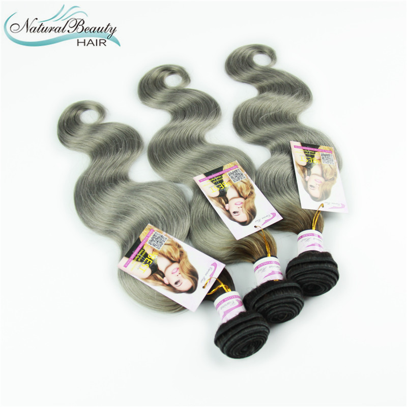 Two Tone 1B/Gray Hair Extensions Boby Wave 3Pc/Lot brazilian Ombre Gray Hair Silver Grey Body Wave Free Shipping