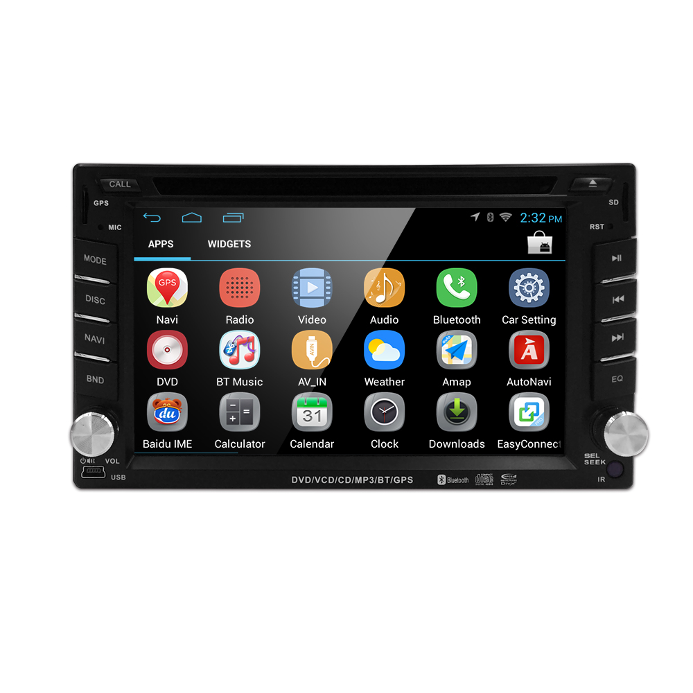 Quad Core Pure Android 4.4 Car DVD Player Car PC Tablet Double 2din 6.2'' GPS Navigation Car Stereo Radio Bluetooth Wifi(China (Mainland))