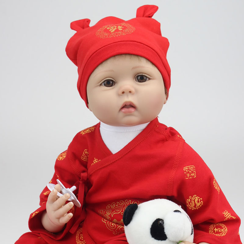 New 55cm silicone reborn baby doll Vinil Body Doll China Red Boy Baby Reborn Doll comes with Panda brinquedos high-grade gift(China (Mainland))