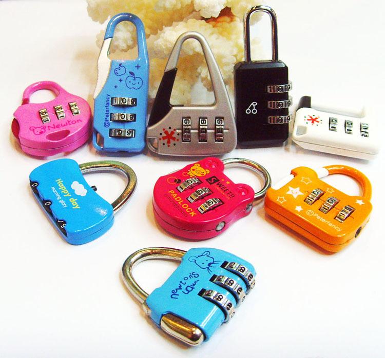 50 PCS/lot combination lock rod box Boot password padlock Fashion beautiful process locksnew(China (Mainland))