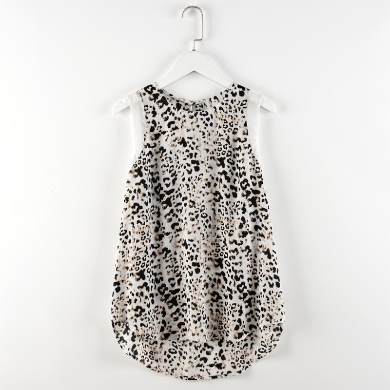 2016 new women casual leopard digital printing vest chiffon o-neck sleeveless casual top tank elegant women's fashion blouse(China (Mainland))