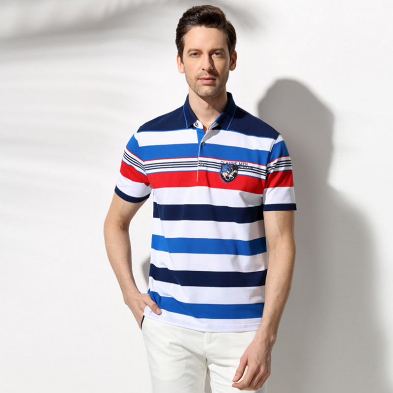 Mens polo fashion 2016 summer striped cotton men polo for Men s athletic polo shirts