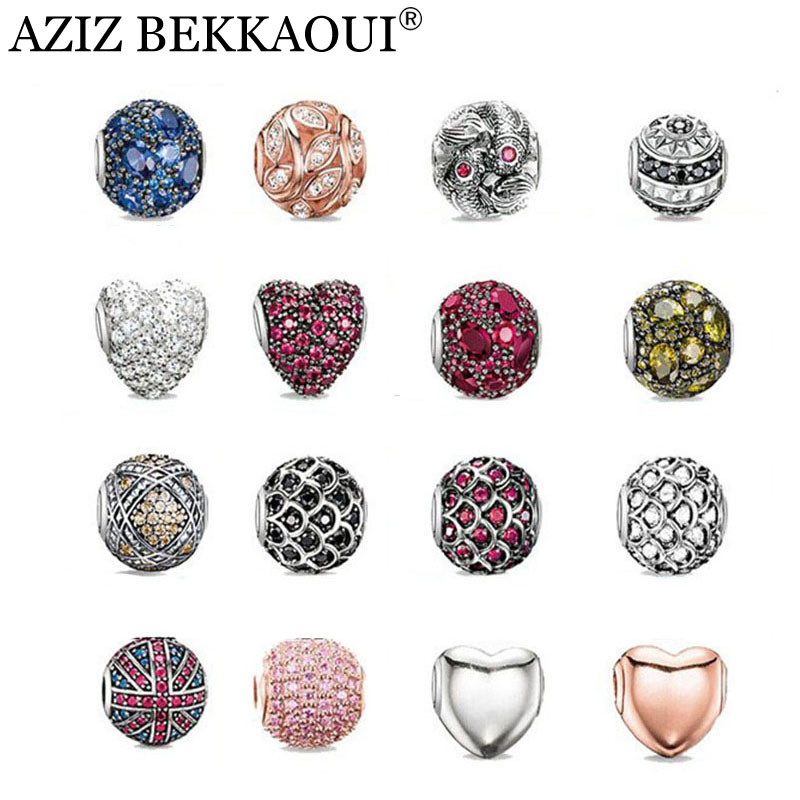 AZIZ New crystal beads fit for european pandora bracelets necklaces silver plated diy heart cabochon charms women men jewelry(China (Mainland))