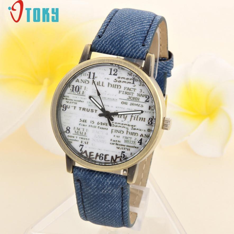 OTOKY Hot Unique Unisex Casual Quartz Analog Sports Denim Fabric News Paper Wrist Watch Drop ship F35(China (Mainland))