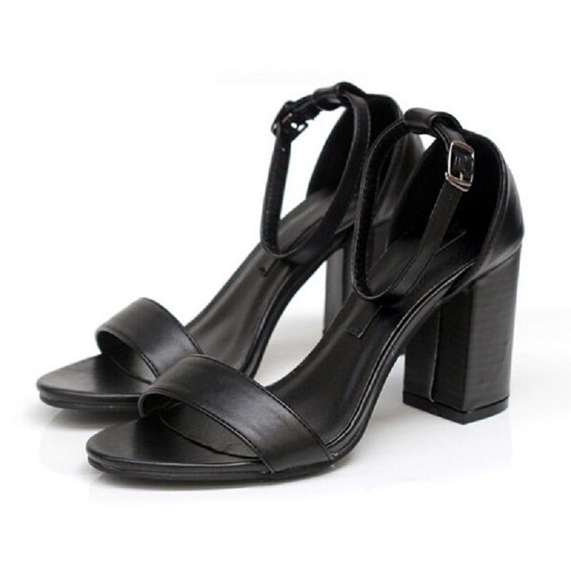 2016 Brand New Summer Style Women's T-stage Sexy High Cuban Heels Peep Toe Ladies Celebrity Sandals Pumps Platform Shoes Black(China (Mainland))