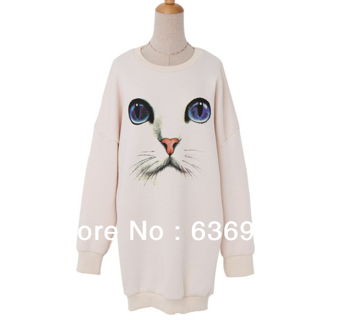New Fashion O Neck Long Sleeve Cat Face Printed Women's Sweater Autumn Winter Outwear Hip-hugger Sweater Free Shipping(China (Mainland))