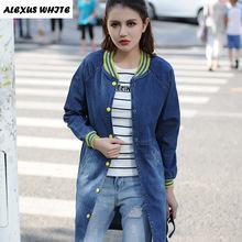 2017 Autumn Cowboys Women's Denim Jacket Winter Female Fashion Jeans Coat Long Sleeve Outwear Jackets(China (Mainland))