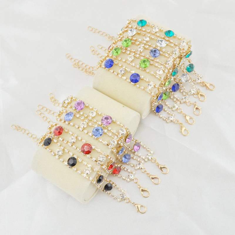 Fashion woman bangles free shipping woman gold plated bracelets bangles indian crystal bracelet femme jewelry 9 colors()