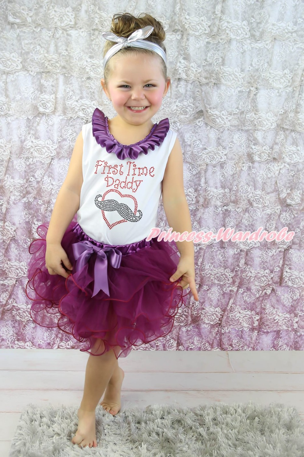 First Time Daddy Mustache Heart White Top Purple Amethyst Petal Girl Skirt NB-8Y(Hong Kong)