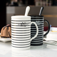Creative black and white couple stripe cup with lid with spoon(China (Mainland))