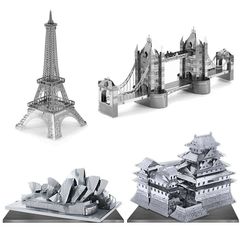 3D Puzzle Metal Earth World's Famous Building DIY Laser Cut Model Paris Iron Tower Big Ben Educational Jigsaw Toy for Kid(China (Mainland))