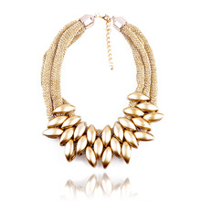 N035 Women Accessories Punk Gold Acrylic Waterdrop Pendant Close Knit Multilayer Twist Chain Chunky Choker Necklaces Gift HOT(China (Mainland))