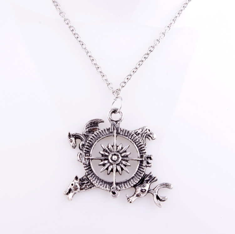 Free Shipping Wholesale 24pcs/lot Movie Song of Fire And Ice,Game of Thrones Inspired Crest Pendant Necklace For Women&Men