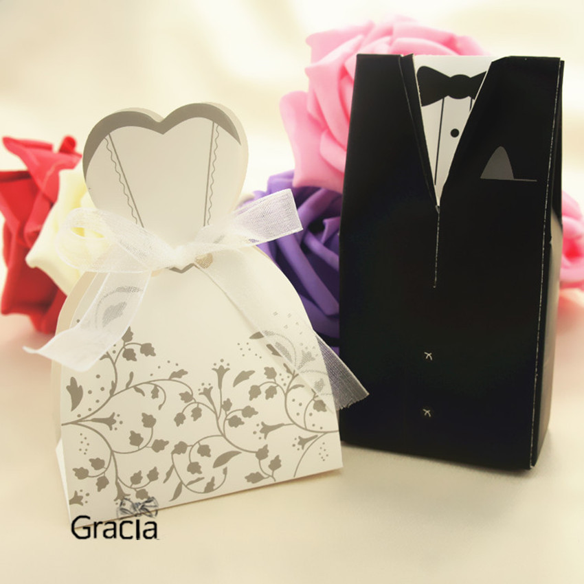 Favor Boxes And Containers : Pcs bride and groom box wedding favor boxes gift