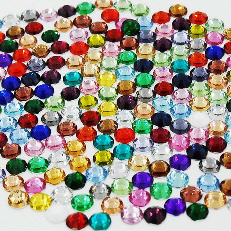Fashion 1000Pcs/Bag Mixed Color Acrylic Nail Art Glitter Rhinestone Nail Tools DIY Decoration Multicolor Round Rhinestone(China (Mainland))