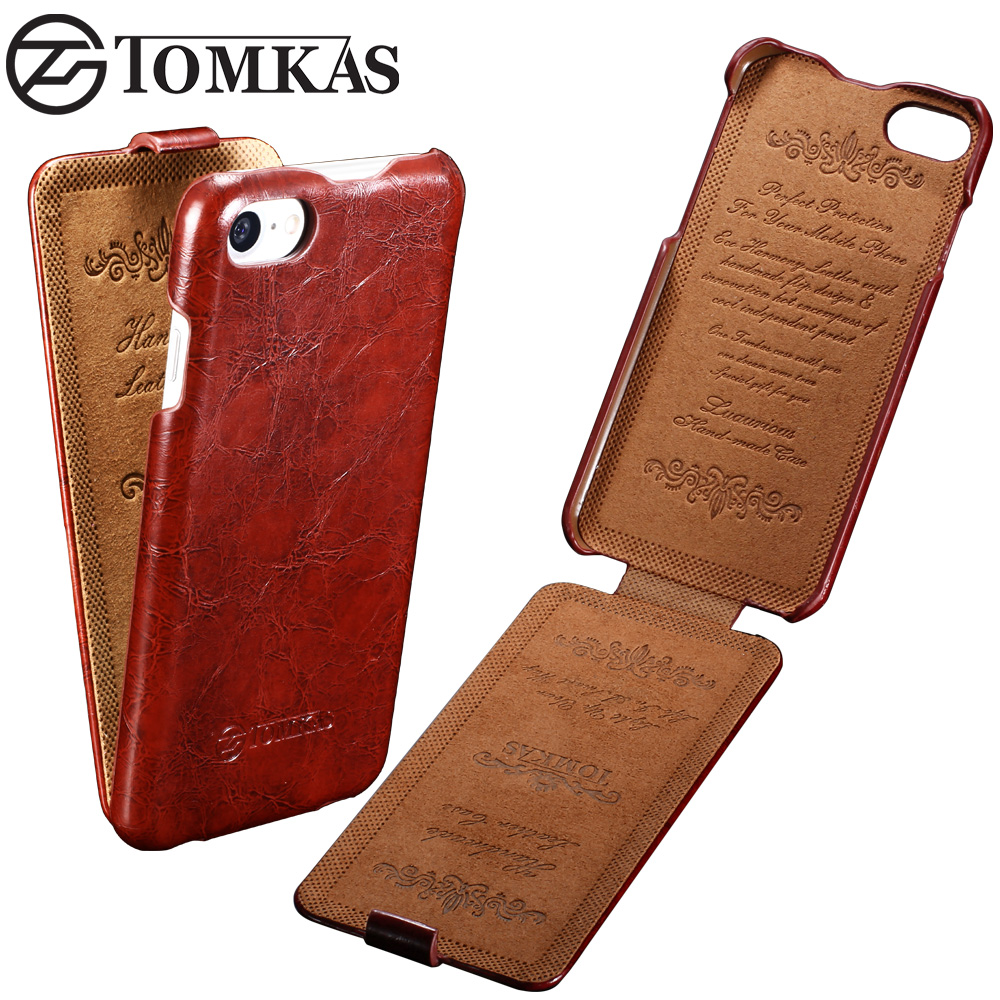 TOMKAS Cover Case For iPhone 7 / 7 Plus Flip Style Wax PU Leather Phone Bag Cover For Apple iPhone 7 Cases Coque