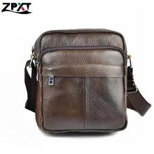 2016 100% Genuine Cowhide Leather Bag Brand Shoulder Handbags Vintage Men Messenger Bags Small Men's Travel Bags business Bags