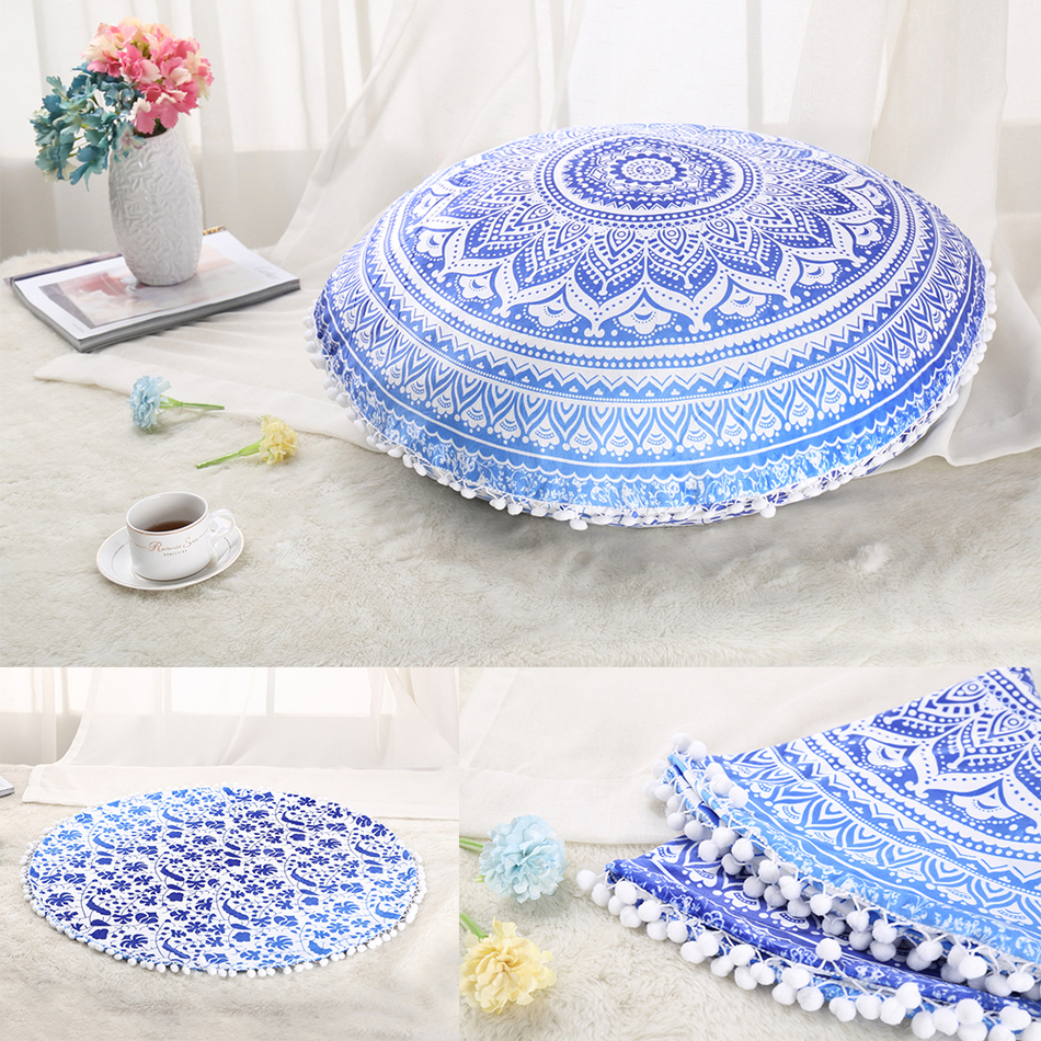 29x29inch Large Floor Pouf Pillows Indian Mandala Round Cushion Covers Plush Material Pillowcase Elephant Gradient color(China (Mainland))