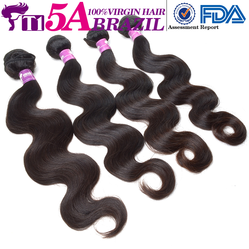 T1 5A 100% Unprocessed Virgin Human Hair Bundles Brazilian Virgin Hair Body Wave Wet And Wavy Virgin Brazilian Hair Weave(China (Mainland))