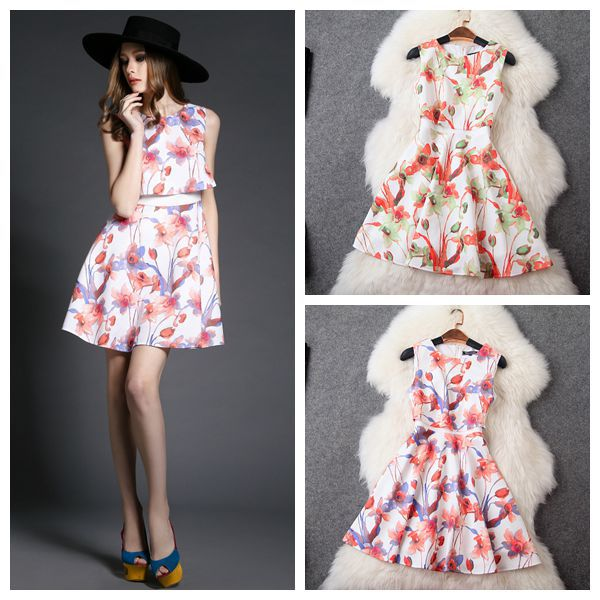 2015 new dress women spring floral pattern Couture slim printing fake two piece suit female sleeveless - Shenzhen IXUANR CO.,LTD store