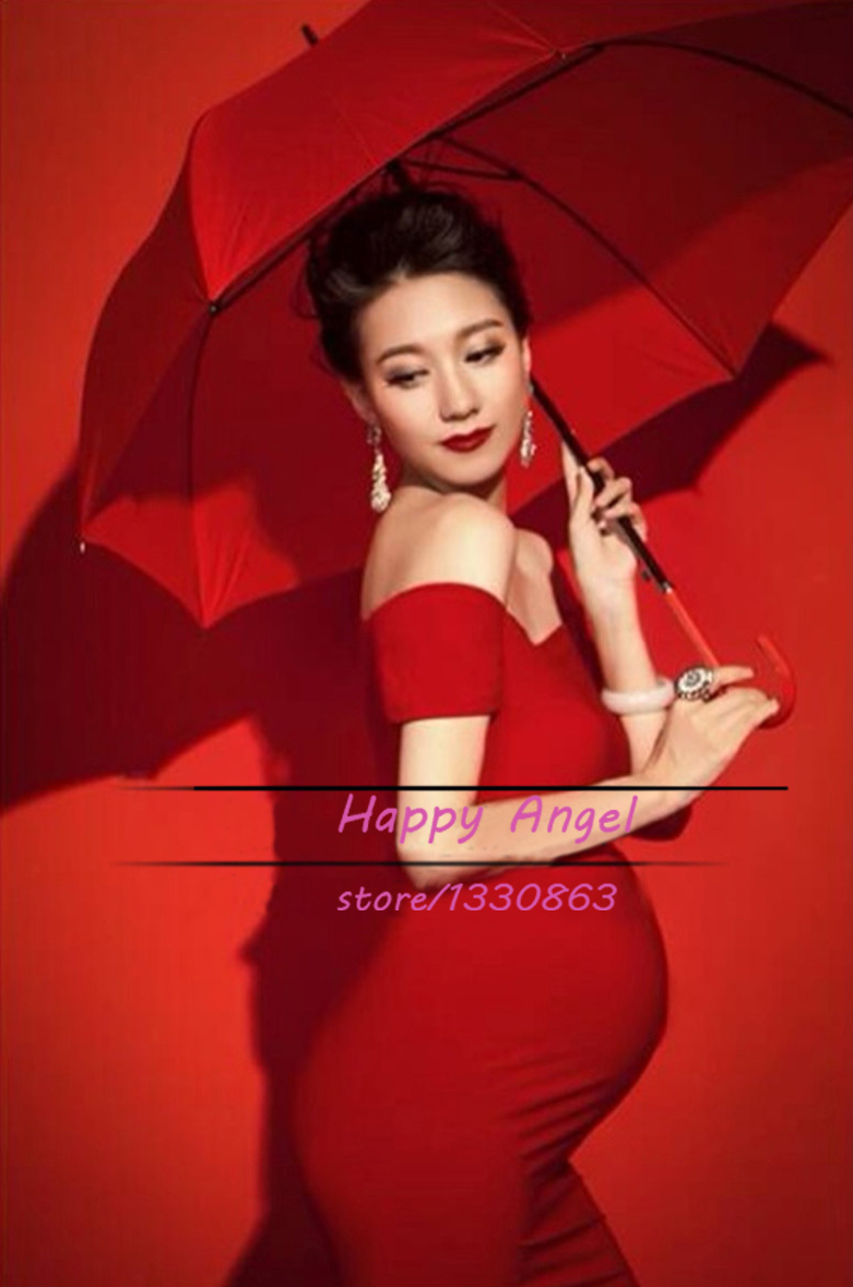 2015 New Maternity Pregnant women Photography Props pregnant women Dress Pregnancy Pure Red color Fashion clothing Free shipping(China (Mainland))