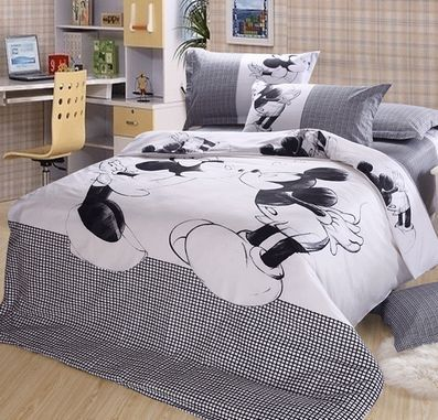 Luxury mickey minnie mouse 4pc Bedding sets full/queen/king Comforter Sets bed linen black white Duvet Covers flat sheet(China (Mainland))