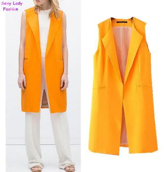 Женщины в сплошной оранжевый цвет средняя длинная без рукавов костюм жилет нагрудные ...