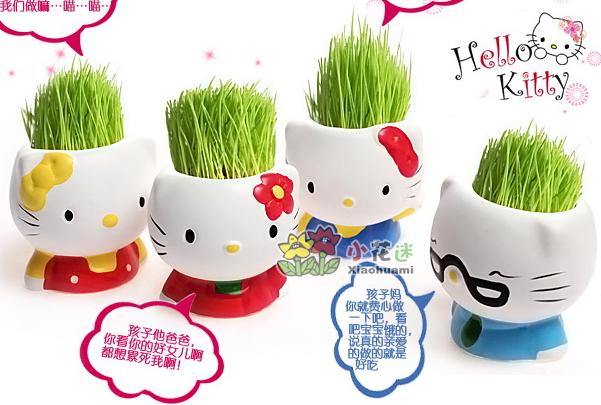 G11 planta grama com bonito boneca cabeça forma e grama verde DIY plantada em vaso de cerâmica / plantas verdes de cerâmica artesanato(China (Mainland))