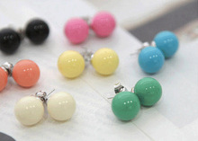 Free Shipping Wholesales 2015 New Fashion Lovely Colors Alloy Candy Ball Stud Earrings Jewelry Accessories(China (Mainland))