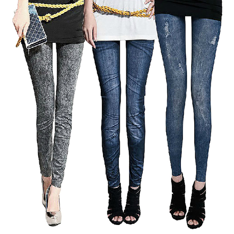 Fashion Design Solid Slim Skinny Printed Thin Denim Leggings for Women Black Blue Fake Jeans Legging