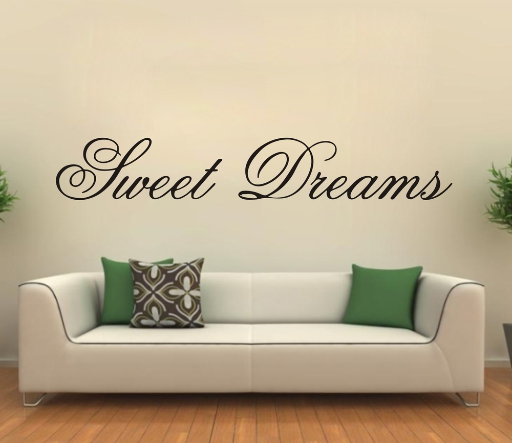 modern wall sticker sweet dreams vinyl art mural wall quote saying decals in wall stickers from. Black Bedroom Furniture Sets. Home Design Ideas
