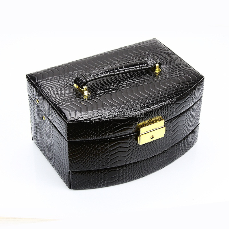 [ROWLING]High Quality Black&White Leather Jewelry Case ZG172(China (Mainland))