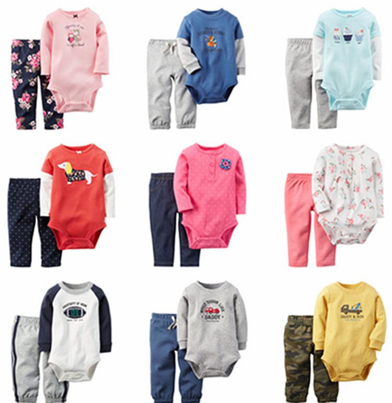 Carters 2015 New Baby Clothing Sets bebe Bodysuit Long sleeve Rompers+Pants 2pcs/set Baby Boy Autumn Suits Girls Infant Clothes(China (Mainland))