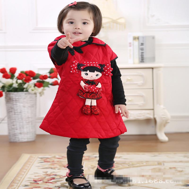 Chinese Style Pure Cotton Thickening Baby Girl New Year Tang Suit Children Velvet Cheongsam Kids Cartoon Little Girl Vest Dress(China (Mainland))