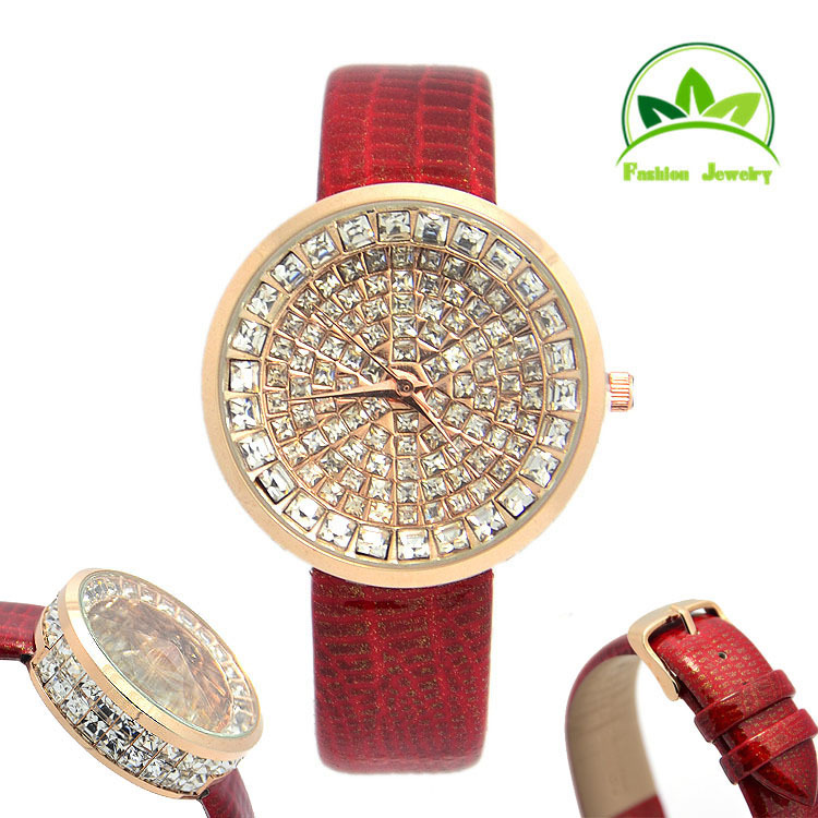 High Quality Genuine Leather Bling Bling Crystal Fashion Women Lady Quartz Watch Wristwatches Wholesale GO090<br><br>Aliexpress