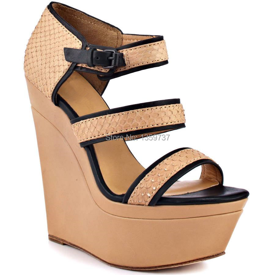 2015 Latest Leisure Summer Girls Shoes Embossed Leather Buckle Platforms Wedge Sandals(China (Mainland))