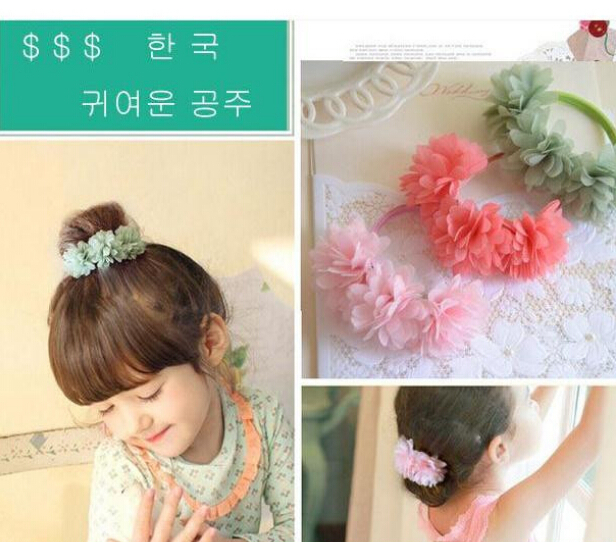 Hot sale Lovely girl flower hair ring headband hair elastic bands kids hair accessories(China (Mainland))