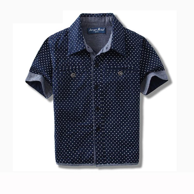 2015 New Children Short Sleeve Shirts Baby Boys Polka Dot
