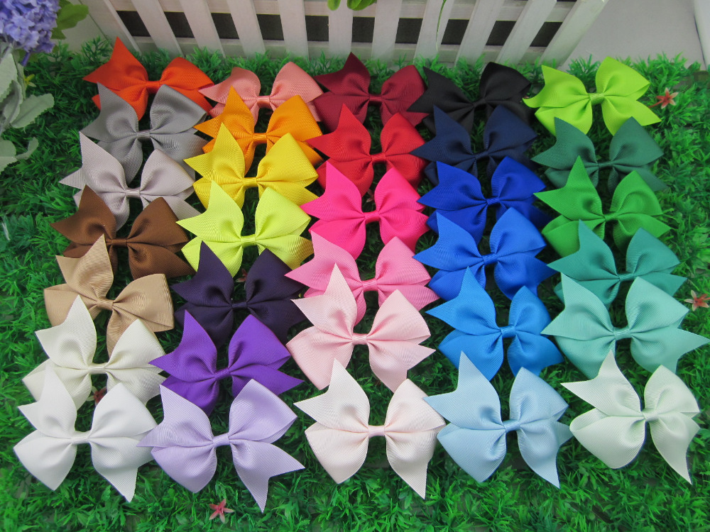 3.5 inch High Quality Grosgrain Hair Ribbon Bows Children Hair Accessories Baby Bows Girl Bows with Clip 32pcs/lot(China (Mainland))
