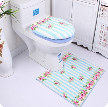 1set=3pcs Fashional Bathroom Clean Warm Toilet Lid Cover & Toilet Seat Cover&U Shape Mat(China (Mainland))