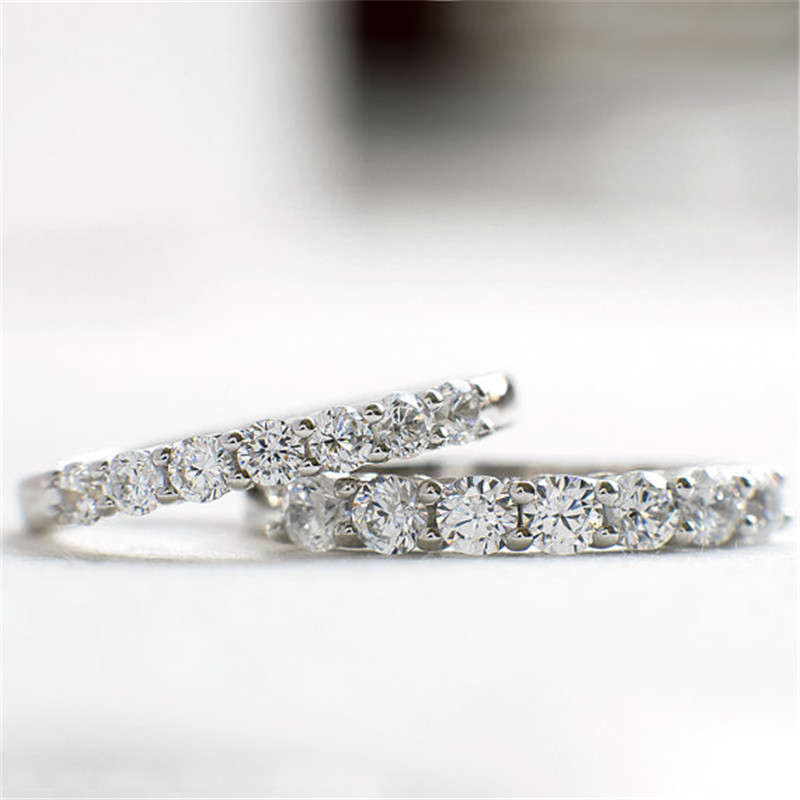 Trendy Genuine 925 Solid Sterling Silver Wedding Silver Ring SONA Simulated Diamond Engagment