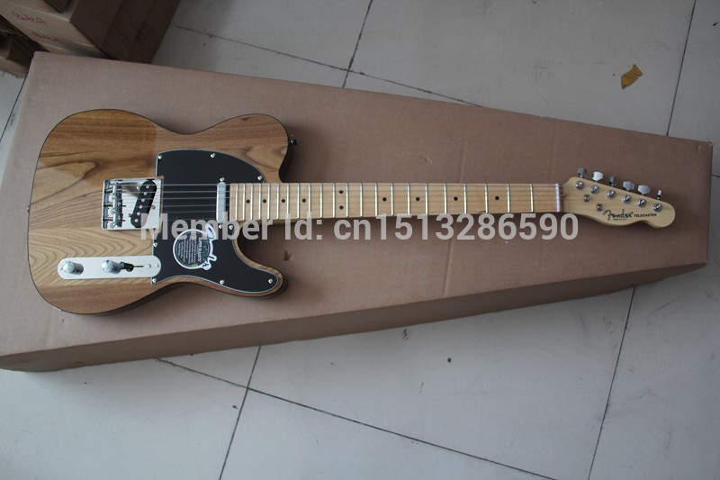2019 Free shipping/Top quality New style Arrival Natural wood color TELE Electric Guitar Black tipping in stock(China (Mainland))