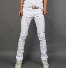men jeans 2016 summer new mens jeans white slim fit Jeans men casual sexy skinny(China (Mainland))