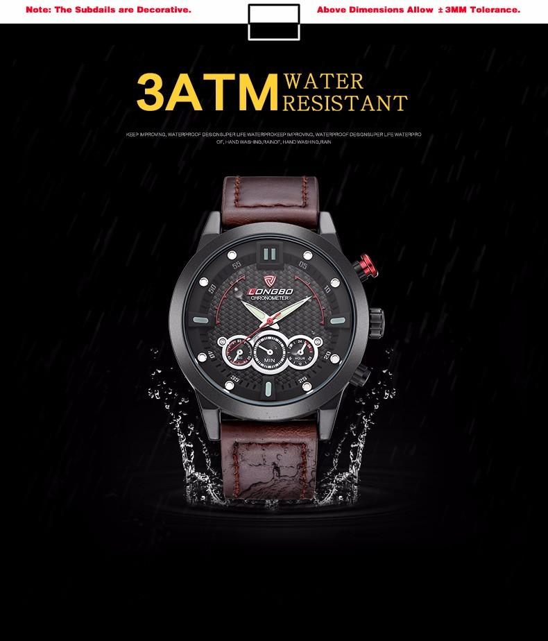 LONGBO Luxury Brand Мужчины Натуральная Кожа Смотреть 2016 мужские Случайные Военные Спортивные Водонепроницаемые Наручные Часы Relogio мужской 80188