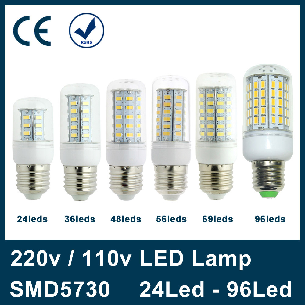 E27 Led Lamp 220V 110V 24 36 48 56 69 96 leds SMD 5730 LED Light Corn Led Bulb Christmas lampada led Chandelier Candle Lighting(China (Mainland))