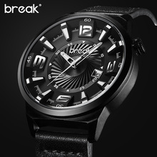 BREAK Men Top Luxury Brand Stainless Steel Band Fashion Casual Japan Quartz Sports Wristwatches Unique Gift Watches for Gent Boy(China (Mainland))