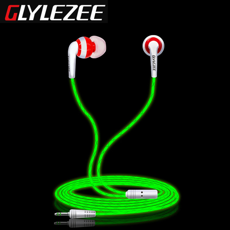 Glylezee G1 Luminous Stereo Cellphone Earphone Headset MP3 Music Headphone Glowing in Dark for Mobile Phone with Retail Package(China (Mainland))