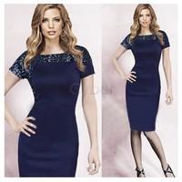 2014 New Charming Women's Style Retro Sequins Short Sleeve Evening Party Bodycon Ladies Dress S M L XL XXL 51