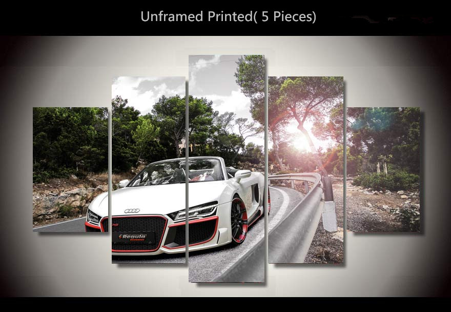 Unframed 5 Piece Set Printed Car Audi Car Oil Painting On Canvas Fashion Car Wall Picture Painting Cuadros Decoracion For Sale(China (Mainland))
