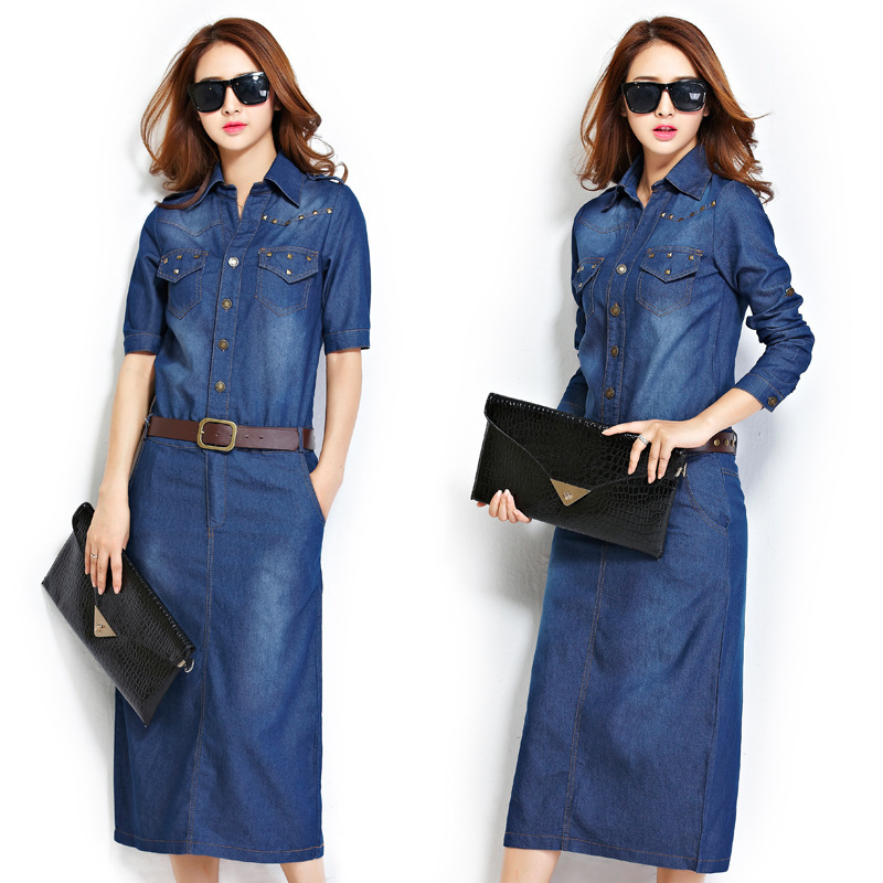Awesome  Women39s Long Sleeve Denim Dress  Just My StyleClothing  P